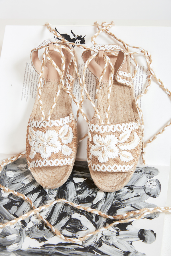 CREAM-COLOURED TORI SANDAL-STYLE ESPADRILLES - JUSTBRAZIL