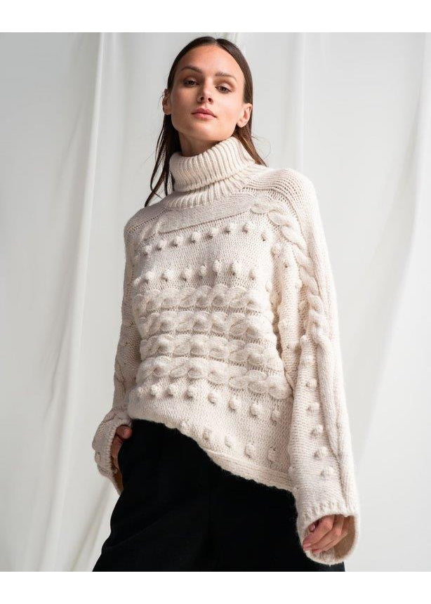 IVORY TURTLENECK POM POM SWEATER - JUSTBRAZIL
