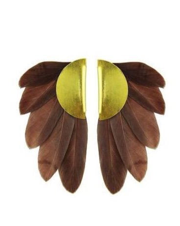 ARTEMIS BROWN  FEATHER EARRINGS - JUSTBRAZIL