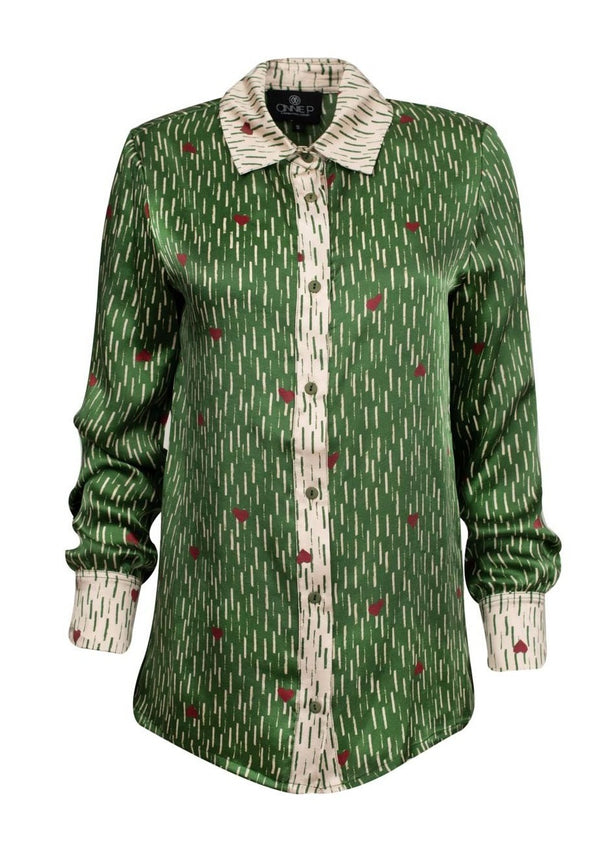RAINING LOVE GREEN SILK SHIRT - JUSTBRAZIL