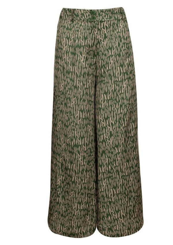 RAINING LOVE ZEBRA GREEN ANKLE PANTS - JUSTBRAZIL