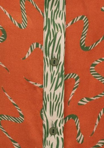SNAKES ORANGE/ZEBRA GREEN SILK SHIRT - JUSTBRAZIL
