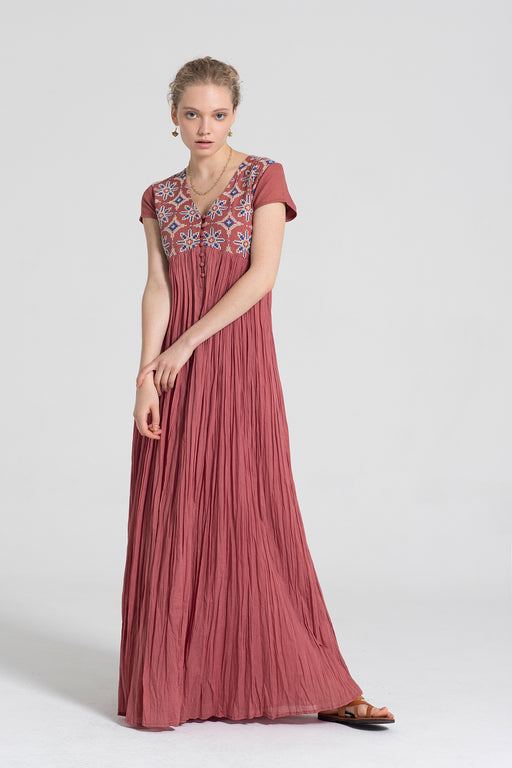 EMBROIDERY LONG RED DRESS - JUSTBRAZIL