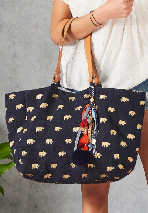 ALOHI ELE JUTE TOTE NAVY BAG - just-brazil