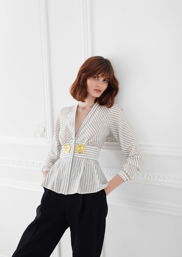 ERSI STRIPED BLOUSE / GOLDEN BUCKLES - JUSTBRAZIL