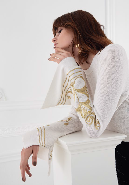 ARETI WHITE EMBROIDERED SWEATER - JUSTBRAZIL