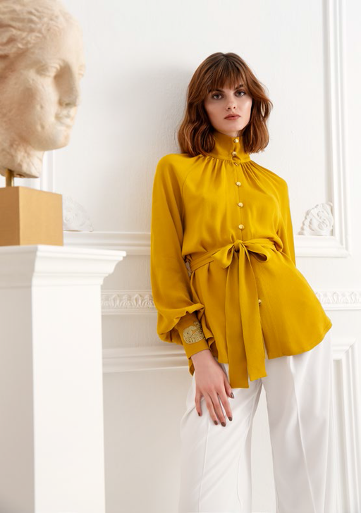 HELIOS EMBROIDERED EGG YELLOW SHIRT