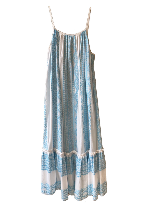 APHRODITE WHITE/LIGHT BLUE LONG DRESS - JUSTBRAZIL