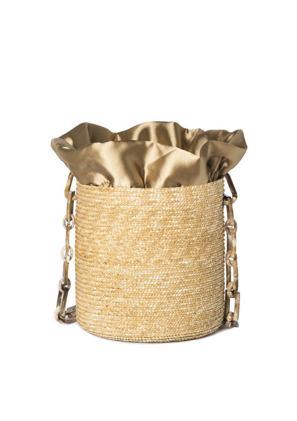 RAFFIA SHOULDER BUCKET-MACCHIATO HANDLE BAG - JUSTBRAZIL