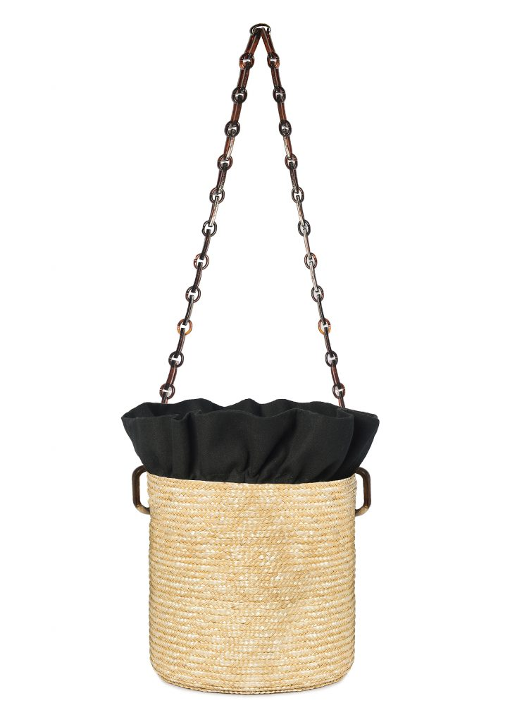 RAFFIA SHOULDER BUCKET-TORTOISE HANDLE BAG - JUSTBRAZIL