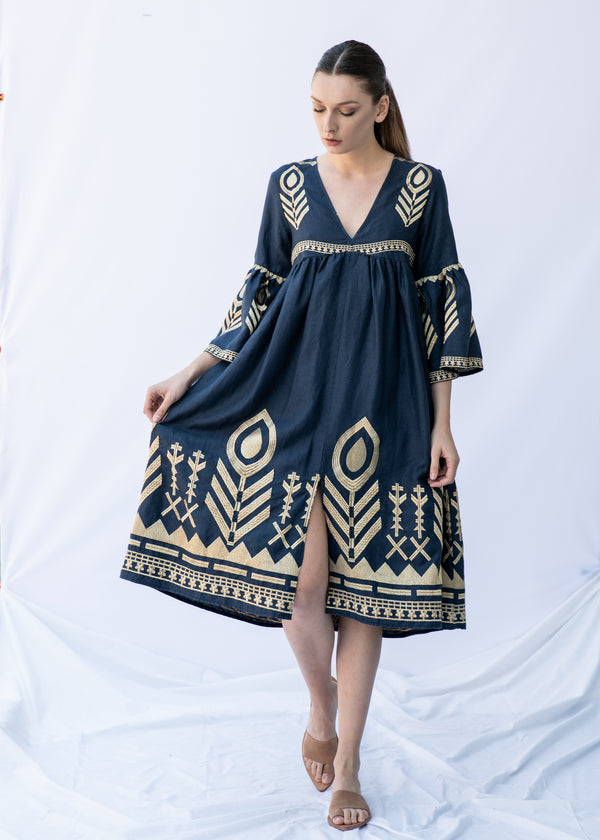 AKTIS BLUE/GOLD MIDI DRESS - JUSTBRAZIL