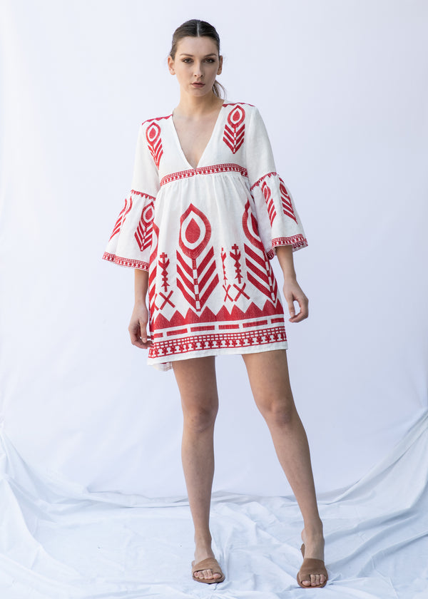 EKAVI WHITE/ RED SHORT DRESS - JUSTBRAZIL