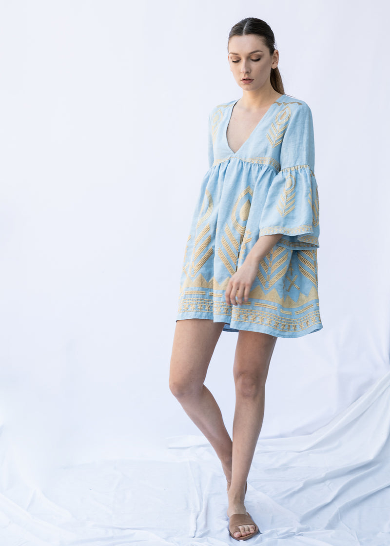 EKAVI LIGHT BLUE SHORT DRESS - JUSTBRAZIL