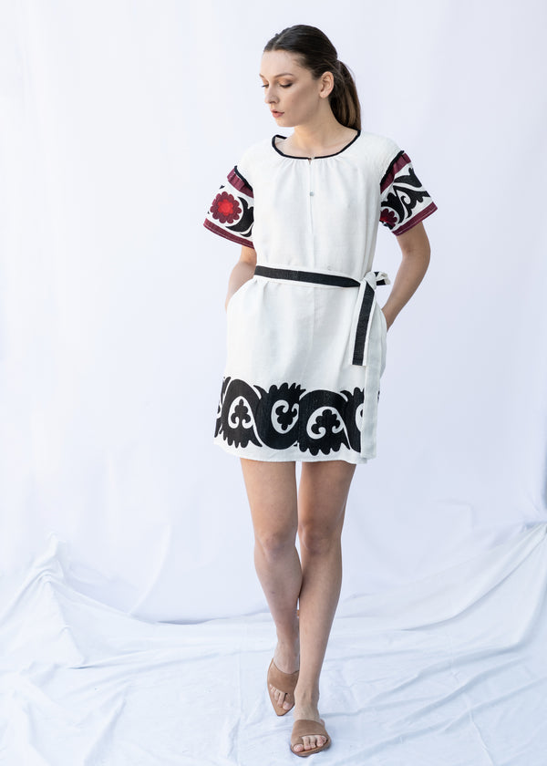 ELPINIKI SHORT WHITE/BLACK/BURGUNDY DRESS - JUSTBRAZIL