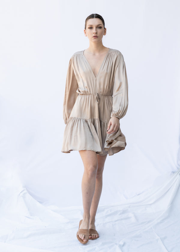 GORGO SHORT NUDE DRESS - JUSTBRAZIL