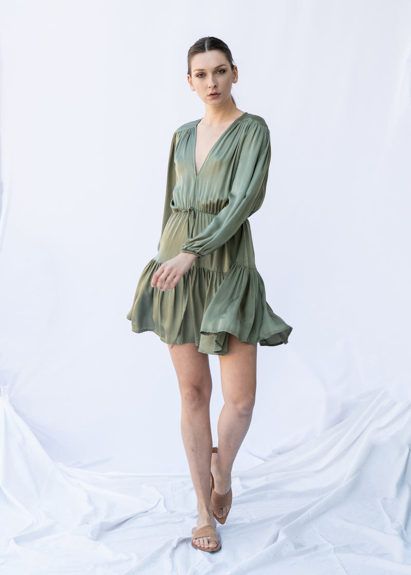 GORGO SHORT KHAKI DRESS - JUSTBRAZIL