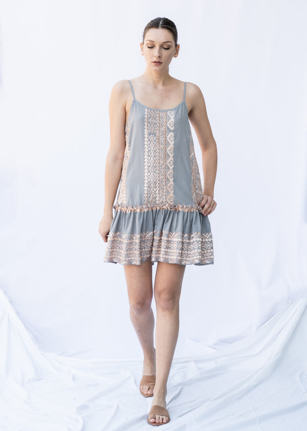 SEMELI GREY/PINK BRONZE SHORT DRESS - JUSTBRAZIL