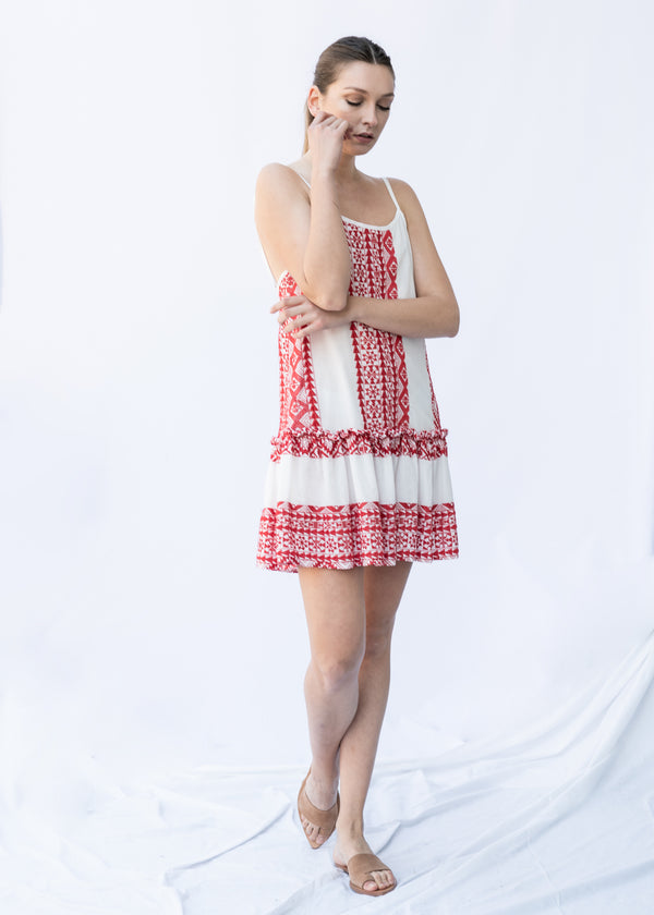 SEMELI WHITE/RED SHORT DRESS - JUSTBRAZIL