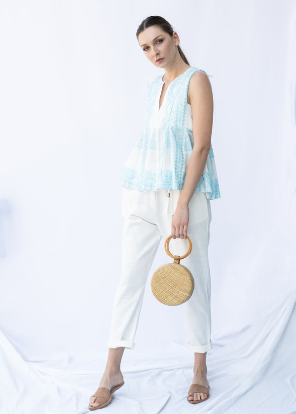 IRIDA WHITE/BLUE SLEEVELESS BLOUSE - JUSTBRAZIL