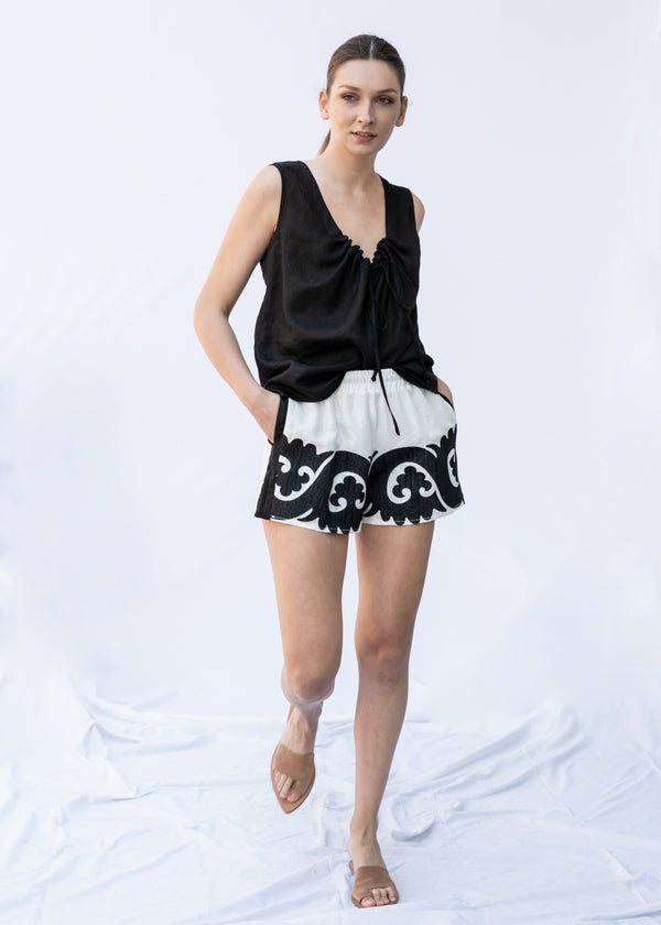 IOKASTE WHITE/BLACK SHORTS - JUSTBRAZIL