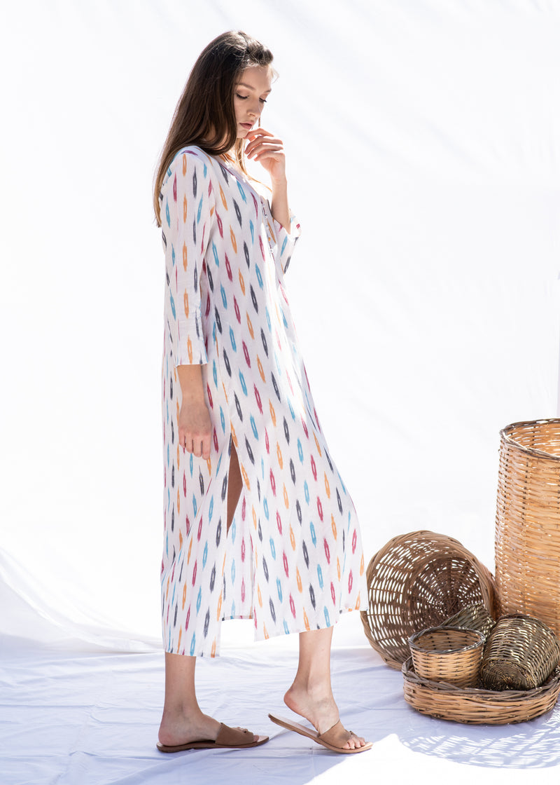 KORINA IKAT WHITE DRESS - JUSTBRAZIL