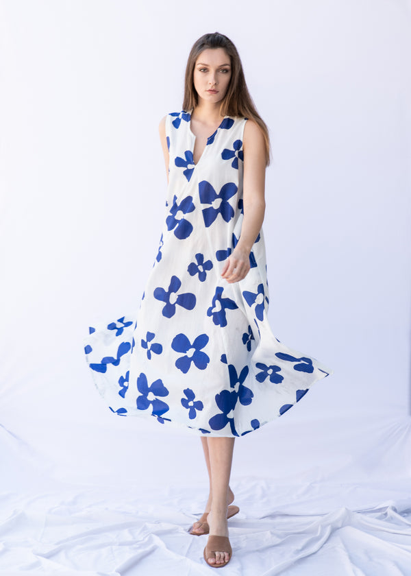 WHITE BLUE FLOWERS DRESS - JUSTBRAZIL