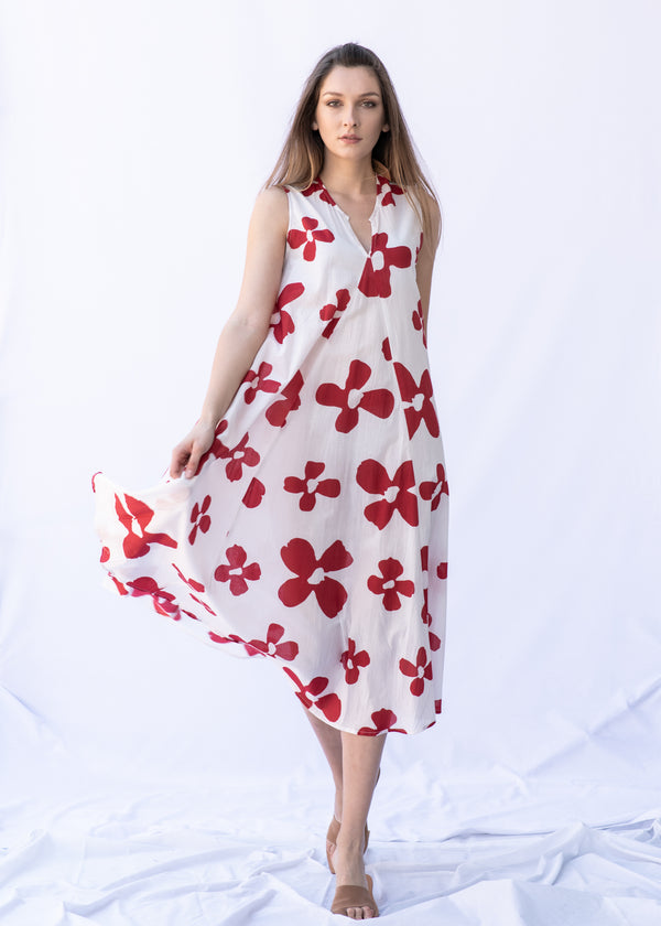 WHITE RED FLOWERS DRESS - JUSTBRAZIL