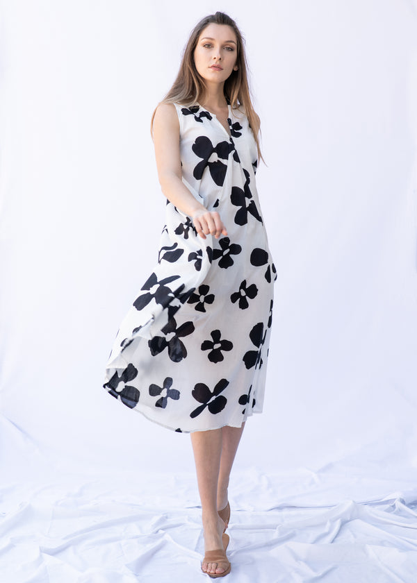 WHITE BLACK FLOWERS DRESS - JUSTBRAZIL