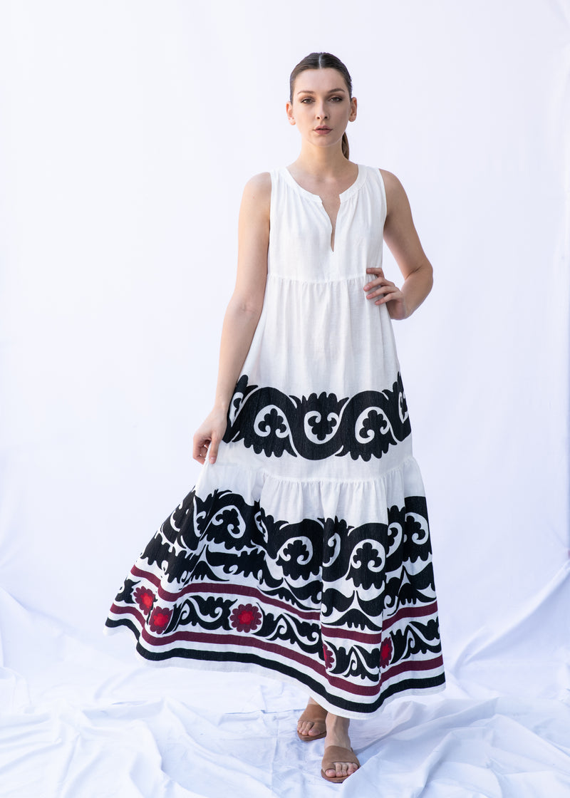 EVRIDIKI WHITE/BLACK/BURGUNDY LONG DRESS - JUSTBRAZIL