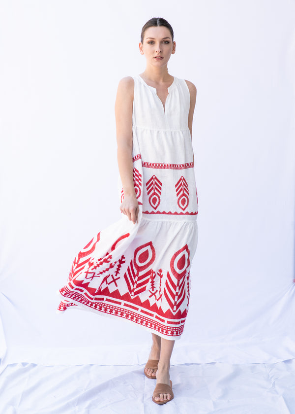 ERGANI WHITE/RED DRESS - JUSTBRAZIL
