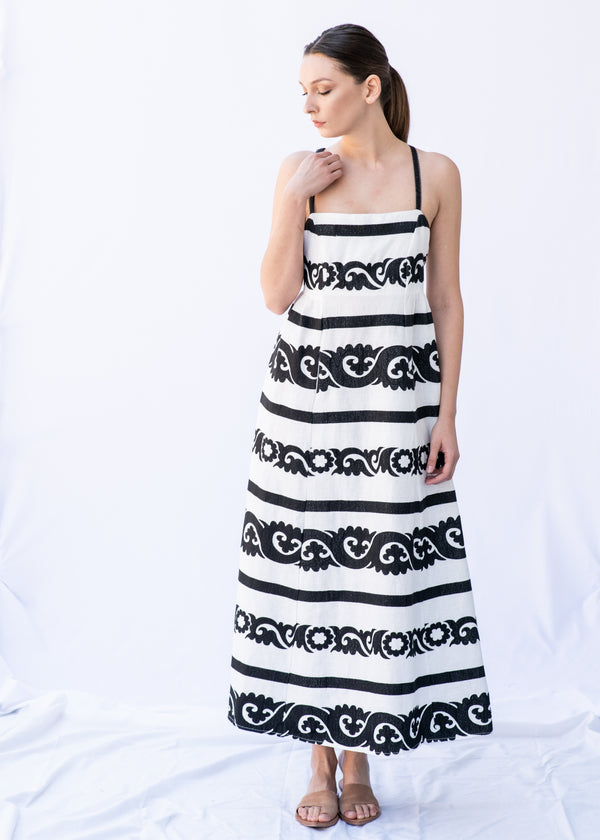 THALEIA WHITE/BLACK STRIPED  LONG DRESS - JUSTBRAZIL