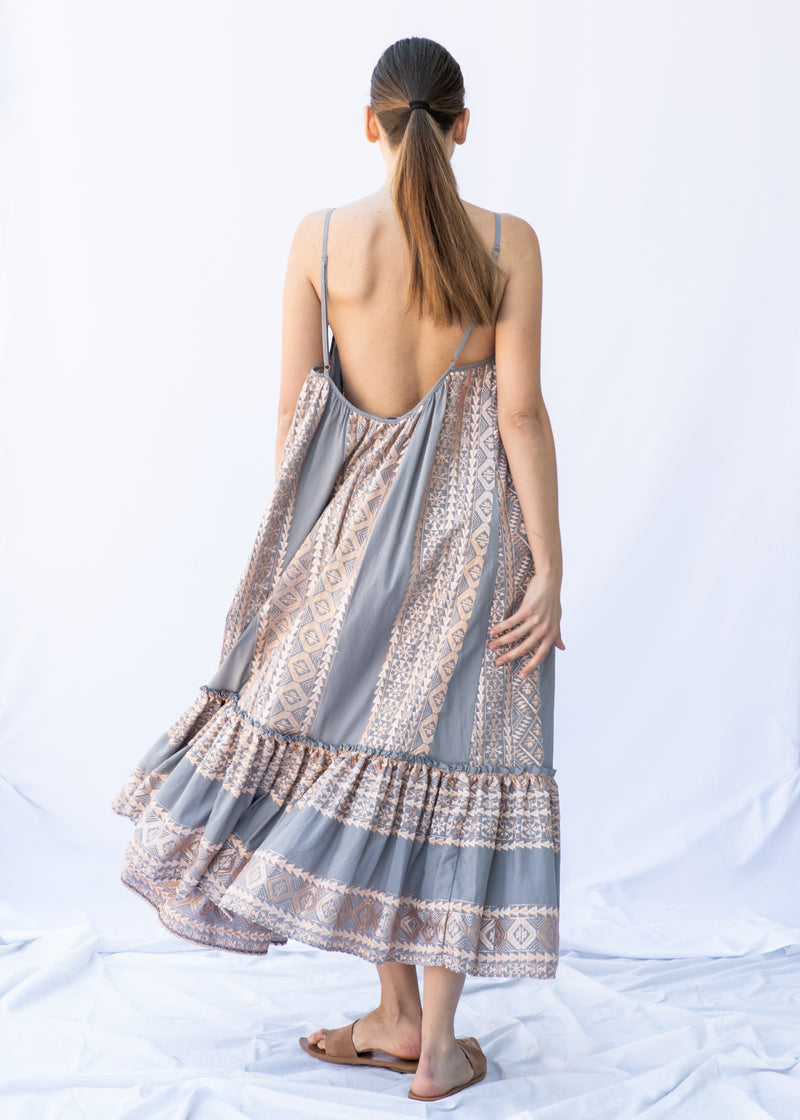 APHRODITE GREY/PINK BRONZE LONG DRESS - JUSTBRAZIL