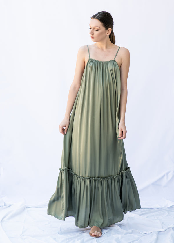 MYRTW BACKLESS KHAKI LONG DRESS - JUSTBRAZIL