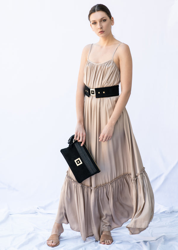 MYRTW BACKLESS NUDE LONG DRESS - JUSTBRAZIL