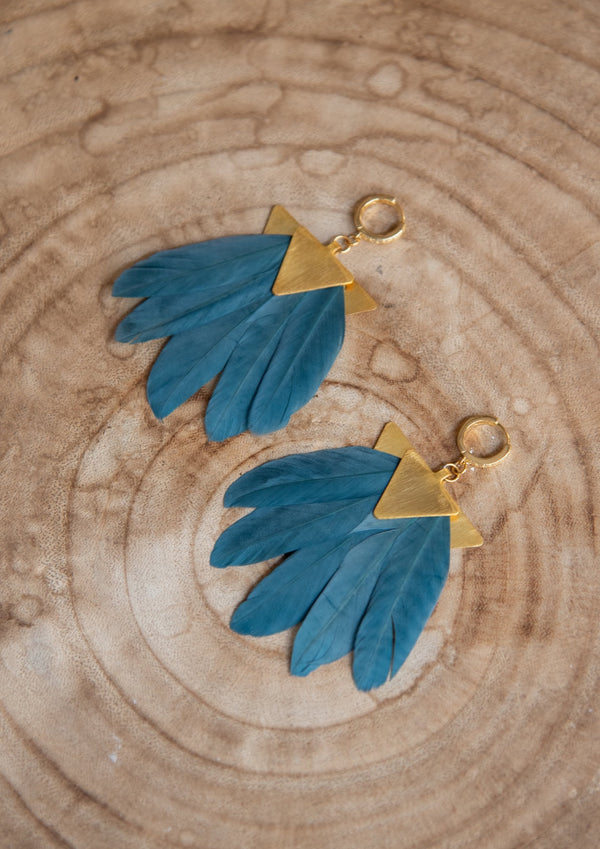 ARTEMIS PETROL FEATHER EARRINGS