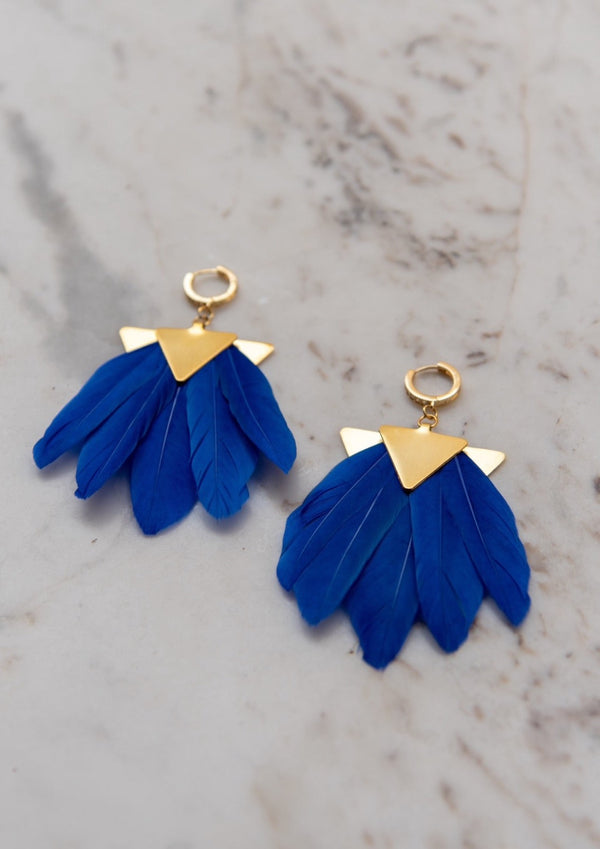 ARTEMIS BLUE FEATHER EARRINGS