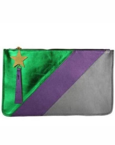 PURPLE GREEN METALIC CLUTCH - JUSTBRAZIL