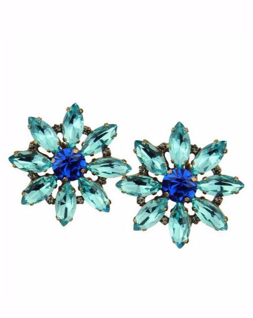 ALICE BLUE CRYSTAL ROSETTE CLIP EARRINGS