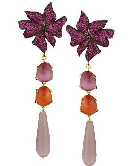 FLOWER DANGLED EARRINGS WITH FACETED CRYSTALS - JUSTBRAZIL