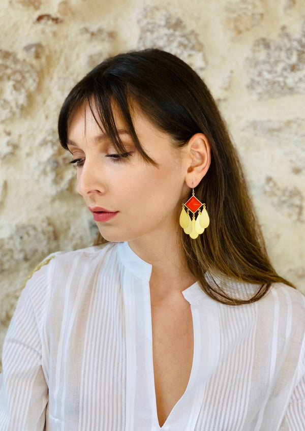 PLEIONES RED STONE EARRINGS - JUSTBRAZIL