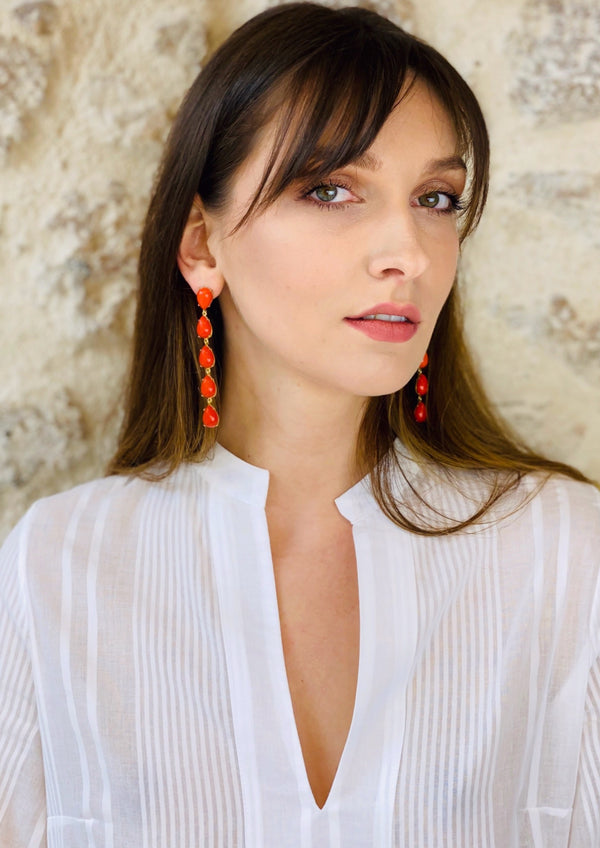 CALYPSO RED EARRINGS - JUSTBRAZIL