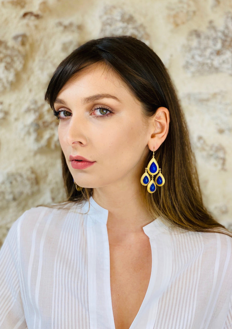 TREVI BLUE STONE EARRINGS - JUSTBRAZIL