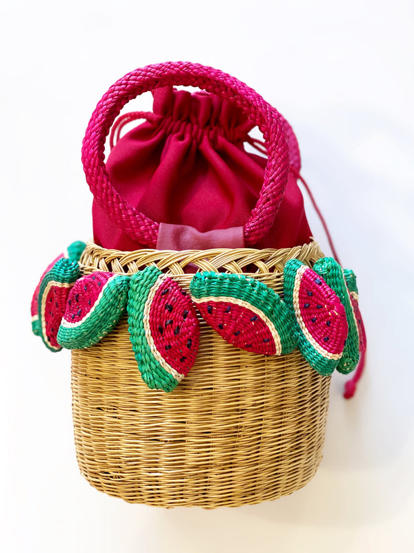 LAUREN WATERMELON STRAW BASKET - JUSTBRAZIL