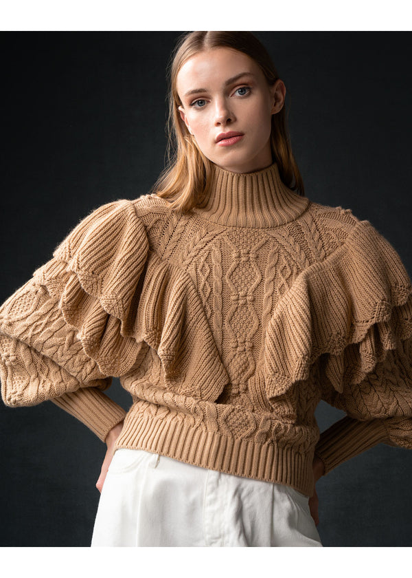 CAMEL DOUBLE RUFFLE SWEATER - JUSTBRAZIL