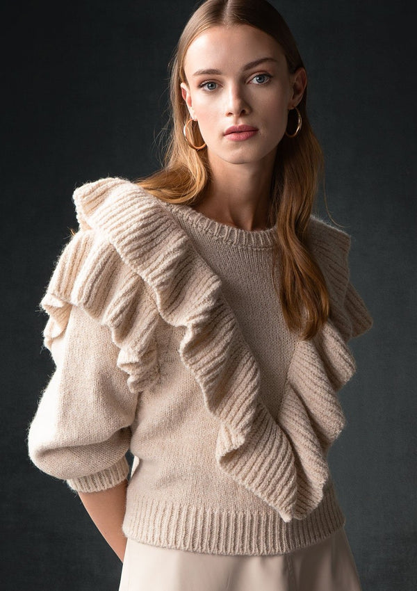 BEIGE V RUFFLE COLLEGE SWEATER - JUSTBRAZIL