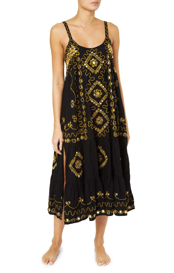CHENNAI POPLIN BLACK MAXI DRESS - just-brazil