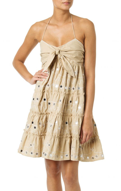 NASHIK SAND BOW TIE FRONT SHORT DRESS - JUSTBRAZIL