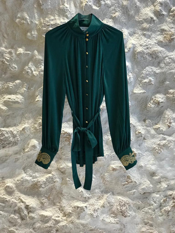 HELIOS EMBROIDERED GREEN SHIRT - JUSTBRAZIL