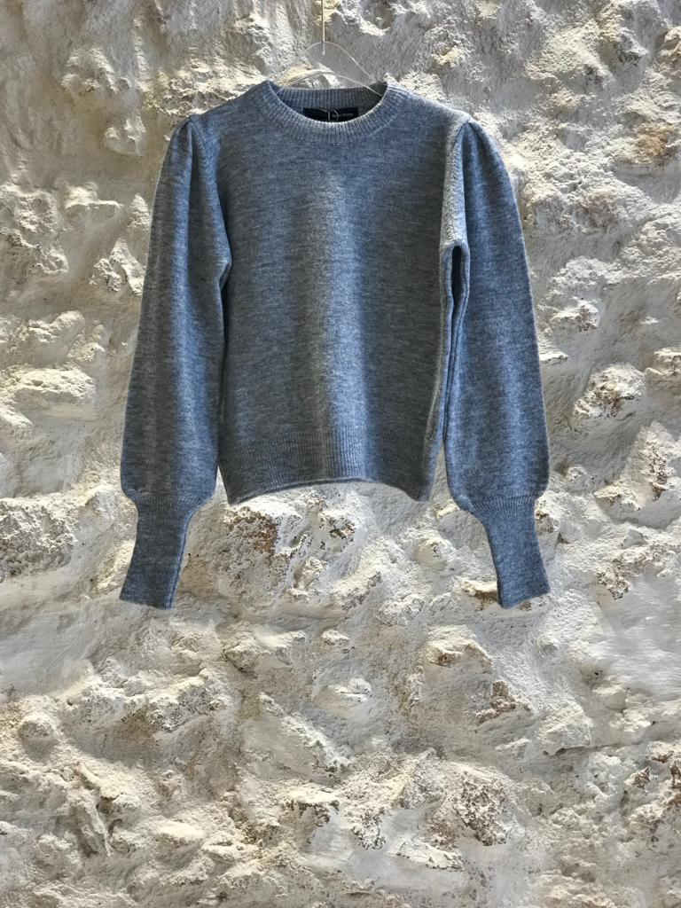 PUFFY SLEEVES GREY SWEATER - JUSTBRAZIL