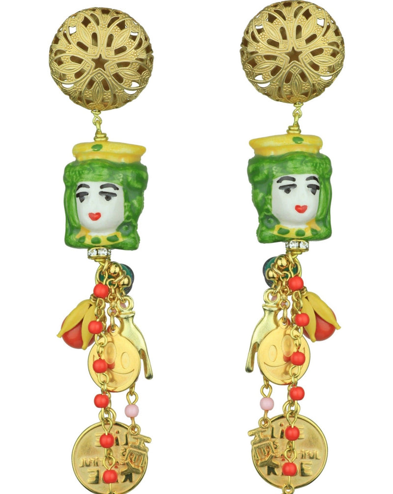 CERAMIC GREEN ORNAMENTS EARRINGS - JUSTBRAZIL